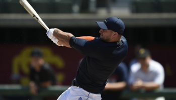 8/30/16 12:04:07 -- Los Angeles, CA, U.S.A  -- Former football star Tim Tebow works out for multiple Major League Baseball teams in the hopes of being signed by one of them. --   Photo by Kelvin Kuo-USA TODAY Sports Images ORG XMIT:  US 135384 Tim Tebow 8/30/2016 [Via MerlinFTP Drop]