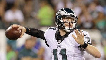 Eagles' Carson Wentz throws his first pass late in the second-quarter against the Tampa Bay Buccaneers in a preseason game on Thursday, August 11, 2016 in Philadelphia.  YONG KIM / Staff Photographer