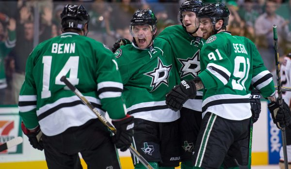 Oct 27, 2015; Dallas, TX, USA; Dallas Stars left wing Patrick Sharp (10) and defenseman John Klingberg (3) and center Tyler Seguin (91) and left wing Jamie Benn (14) celebrate during the game against the Anaheim Ducks at the American Airlines Center. The Stars defeat the Ducks 4-3. Mandatory Credit: Jerome Miron-USA TODAY Sports