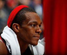 ATLANTA, GA - NOVEMBER 09:  Rajon Rondo #9 of the Chicago Bulls looks on from the bench in the final minutes of their 115-107 loss to the Atlanta Hawks at Philips Arena on November 9, 2016 in Atlanta, Georgia.  NOTE TO USER User expressly acknowledges and agrees that, by downloading and or using this photograph, user is consenting to the terms and conditions of the Getty Images License Agreement.  (Photo by Kevin C. Cox/Getty Images)